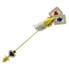 Vintage Harry Winston 18k Gold Cards Pin Brooch Clip