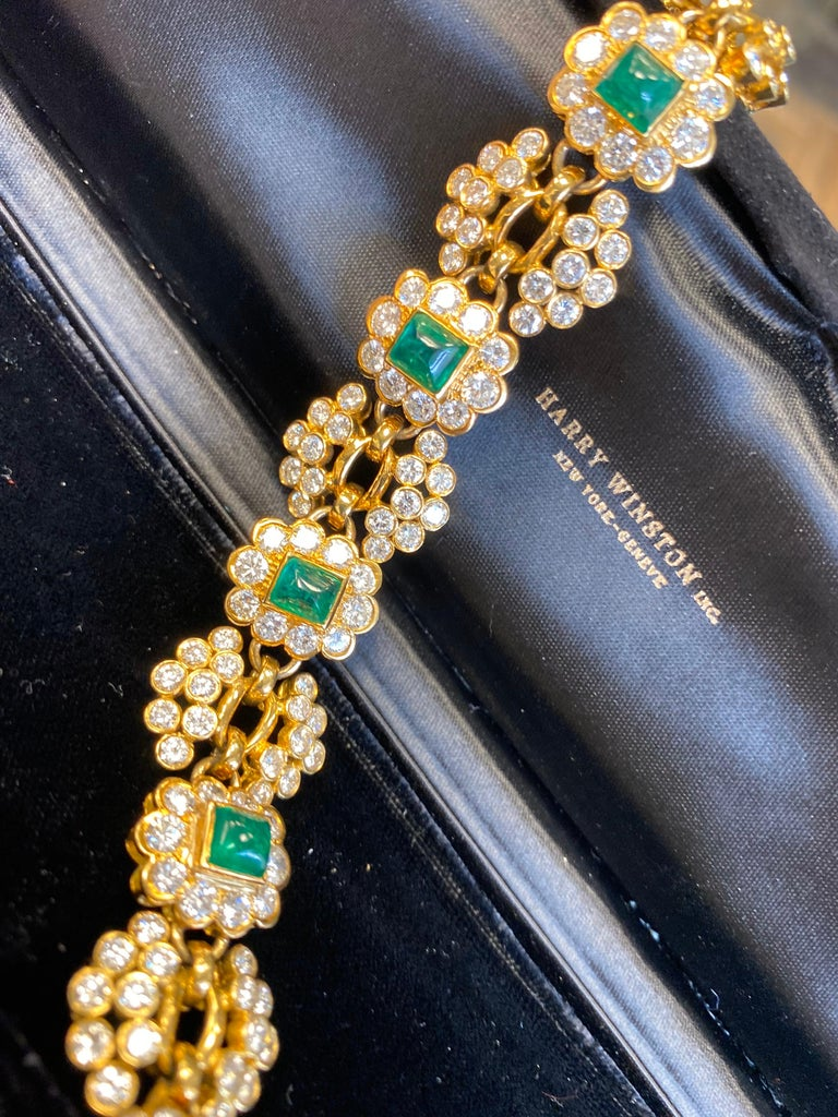 Women's Vintage Harry Winston Emerald Diamond Bracelet For Sale