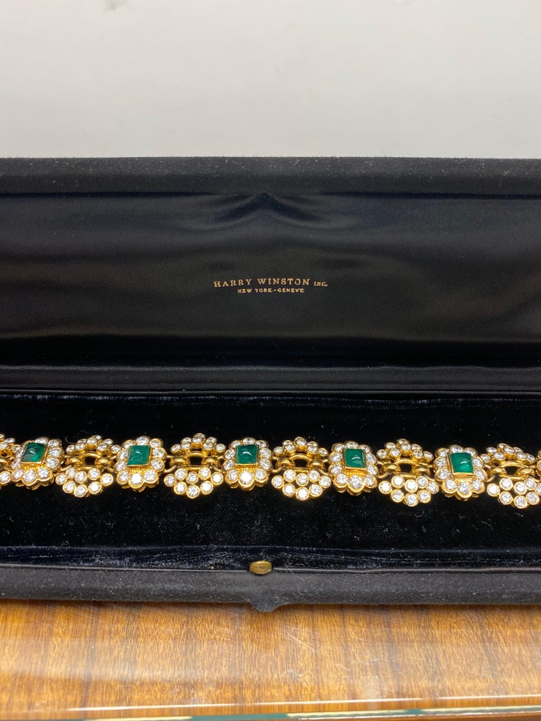 Vintage Harry Winston Emerald Diamond Bracelet For Sale 2