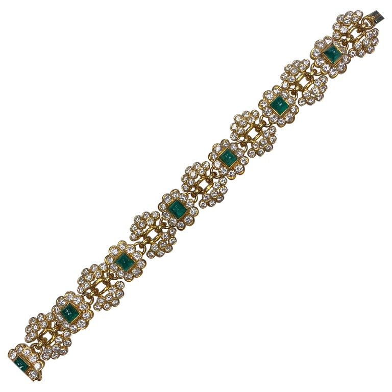 Vintage Harry Winston Emerald Diamond Bracelet For Sale
