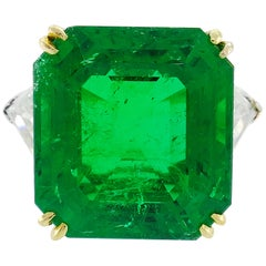 Vintage Harry Winston Emerald Diamond Platinum Ring 14.04 Carat Colombian AGL