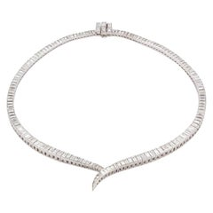 Vintage Harry Winston Platinum 20.00ct Step Cut Diamond Riviere Line Necklace