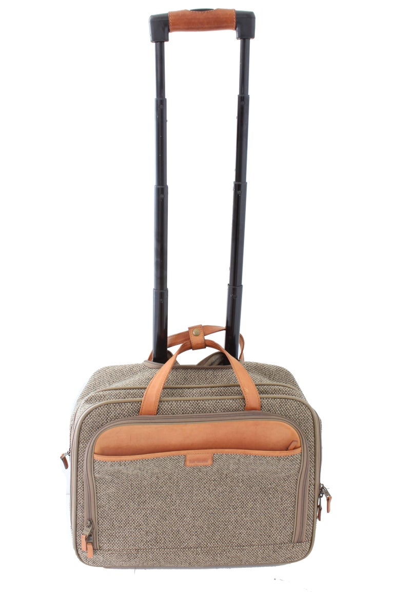 Brown Vintage Hartmann Small Roller Bag Carry On Suitcase Luggage Tweed Leather 70s For