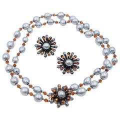 Vintage Haskell Pearl Set With Faux Pearls and Orange Rhinestones