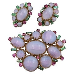 Vintage Hattie Carnegie Blush Lilac Green Color Brooch and Earrings 1950's
