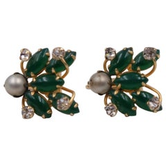Vintage Hattie Carnegie Earrings with Green Glass And Faux Pearls 1960's