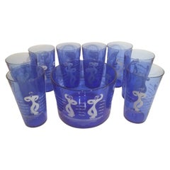 Vintage Hazel Atlas Sportsman Series Dancing Sailor Ice Bowl & Highball Glasses