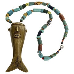 Vintage Headhunter Brass and Trade Bead Necklace, Nagaland
