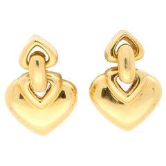 Vintage Heart Drop Earrings Set in 18 Karat Yellow Gold