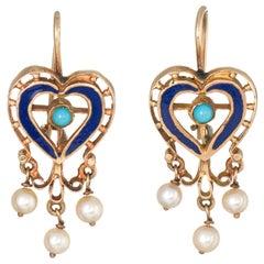 Vintage Heart Earrings 18 Karat Gold Turquoise Pearl Enamel Estate Jewelry