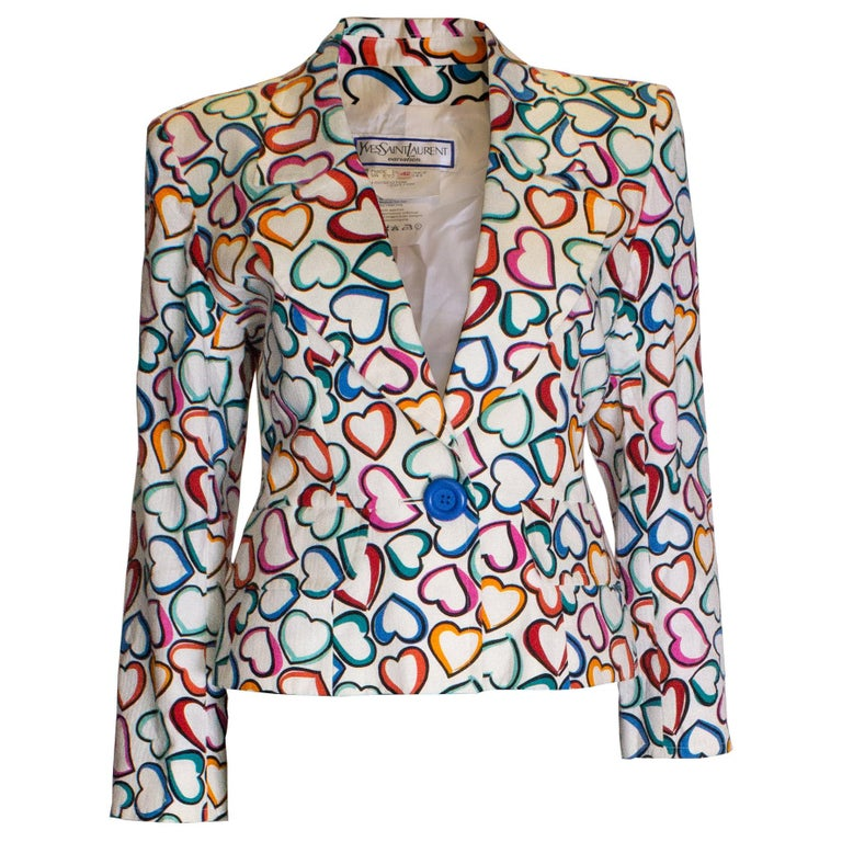 64a01a3e423 Vintage Heart Print Jacket by Yves Saint Laurent For Sale at 1stdibs