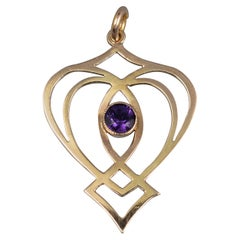 Vintage Heart Shape Amethyst and Gold Pendant Necklace