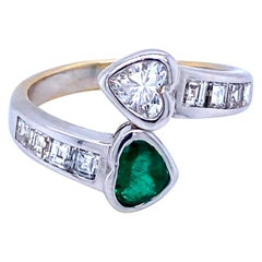 Vintage Hearts Emerald Diamond Vous et Moi Gold Ring
