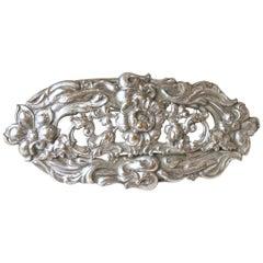 Vintage Heavily Carved Sterling Silver Floral Design Brooch