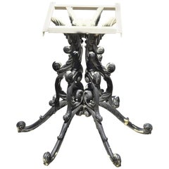 Vintage Heavy Cast Iron French Rococo Style Ornate Dining Pedestal Table Base
