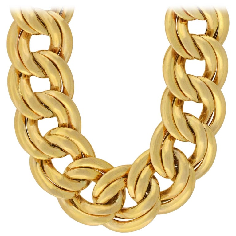 d48285f4f61dd Vintage Heavy Double Cuban Link Gold Chain Necklace