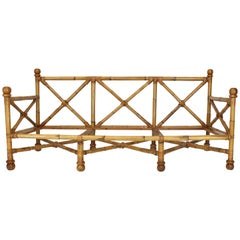 Vintage Heavy Gage Thick Bamboo and Leather X-Base Sofa Frame