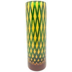 Vintage Heavy Murano Galliano Ferro Style Art Glass Cylinder Vase, Italy, 1970s