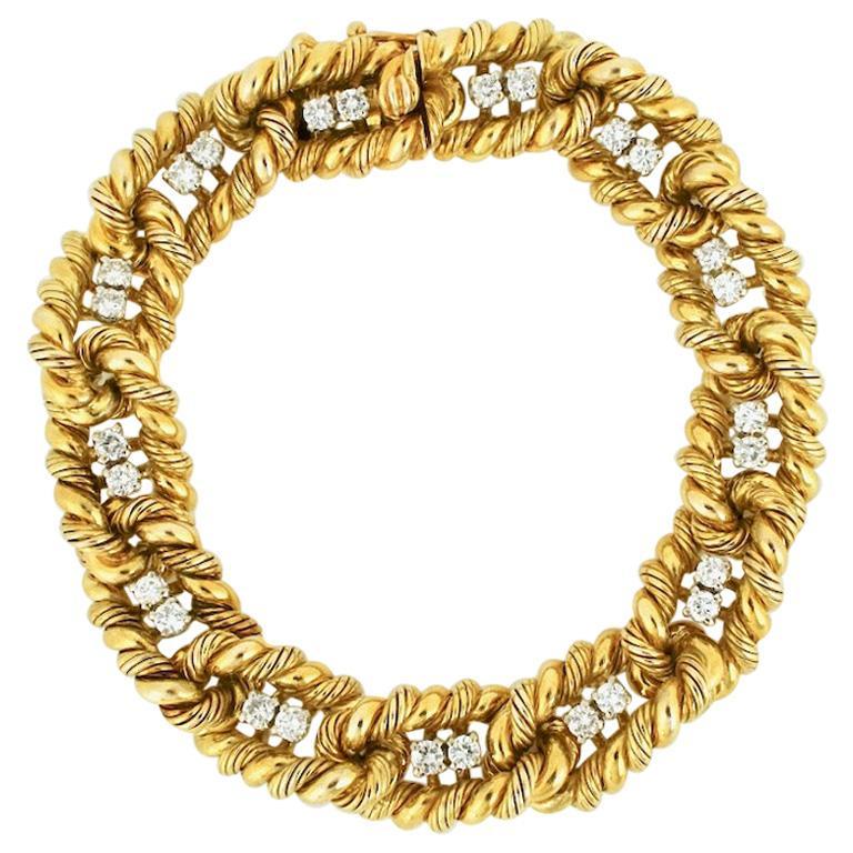 Vintage Heavy Retro 18 Karat Yellow Gold Diamond Rope Link Bracelet 70grms