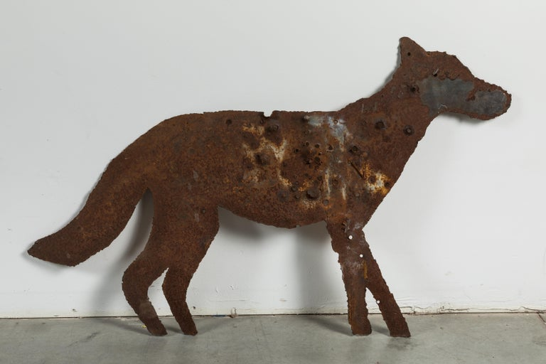 Vintage Heavy Sheet Iron Orange Coyote Dog Folk Art Targets In Good Condition For Sale In Santa Monica, CA