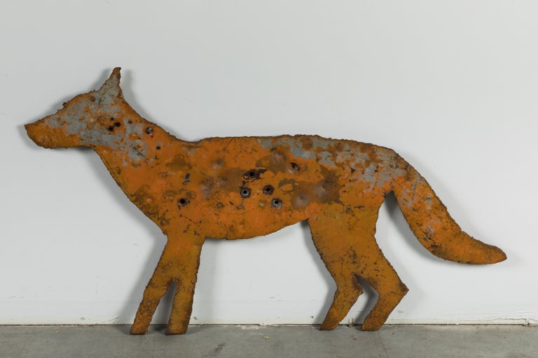Vintage Heavy Sheet Iron Orange Coyote Dog Folk Art Targets For Sale 1