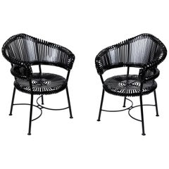 Vintage Heavy Wrought Iron Patio Chairs 'Pair'