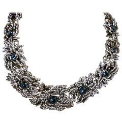 Vintage Heidi Daus Blue & Clear Crystals Bib Necklace