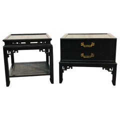 Vintage Hekman Furniture Asian Modern Side Tables, Pair