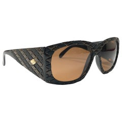 Vintage Helena Rubinstein Black Brown Quilted Sunglasses France