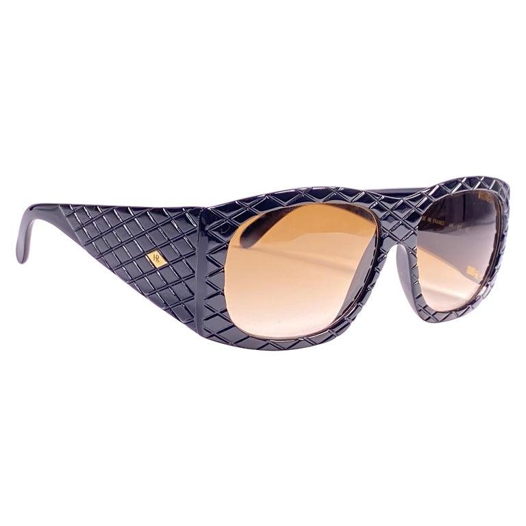 Vintage Helena Rubinstein Black Mask Quilted Sunglasses France For Sale