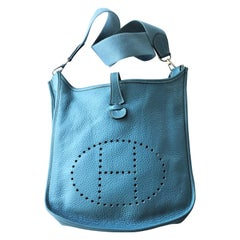 VINTAGE HEMES EVELYN II BAG, Clemens leather blue jeans 2005 paladium