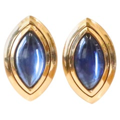 Vintage Hemmerle Sapphire 18 Karat Gold Earrings