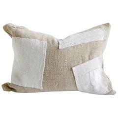 Vintage Hemp Grain Sack Pillow with Patchwork