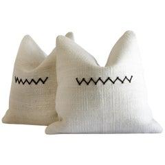 Vintage Hemp Pillow with Zig Zag Stitch