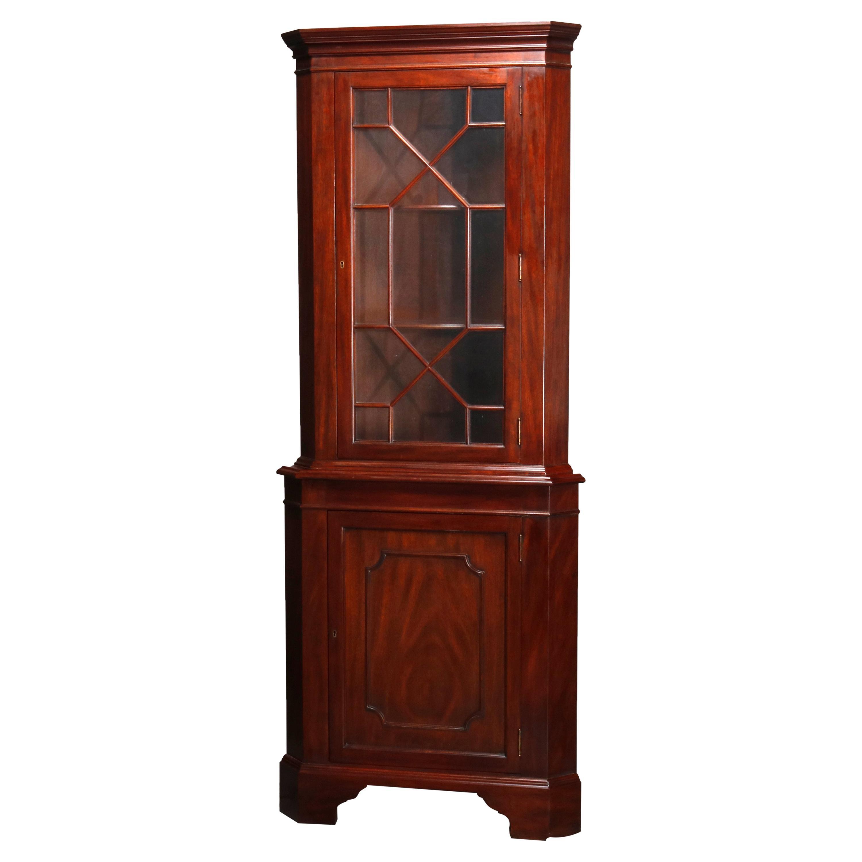 Vintage Henkel Harris Georgian Style Mahogany Corner Cabinet, C1960