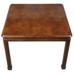 Vintage Henredon Burled Walnut Square Chinoiserie Breakfast Dining Table