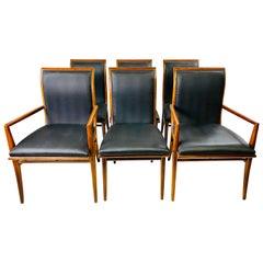 Vintage Henredon Cherry Saber Leg Dining Chairs in the Style of T. H. Robsjohn-G