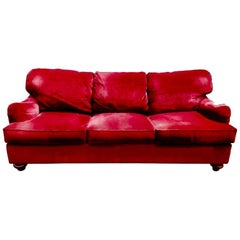 Henredon Custom Red Corduroy Three-Seat Down-Filled Sofa, Cranberry, CLEARANCE