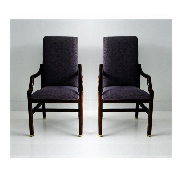 Mid-Century Modern Vintage Henredon Purple Upholstered Dining Chairs, Set of 8 For Sale