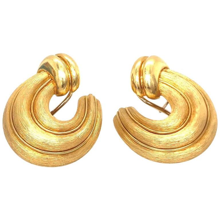 Vintage Earring Hoops Pierced Earring Base Jewelry ComponentFindings 1.5 38mm 1 pr. 1960s Wide Solid Stamped Brass Post Mountings