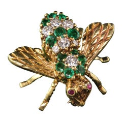 Vintage Henry Rosenthal 18 Karat Yellow Gold Diamond Emerald and Ruby Bee Pin