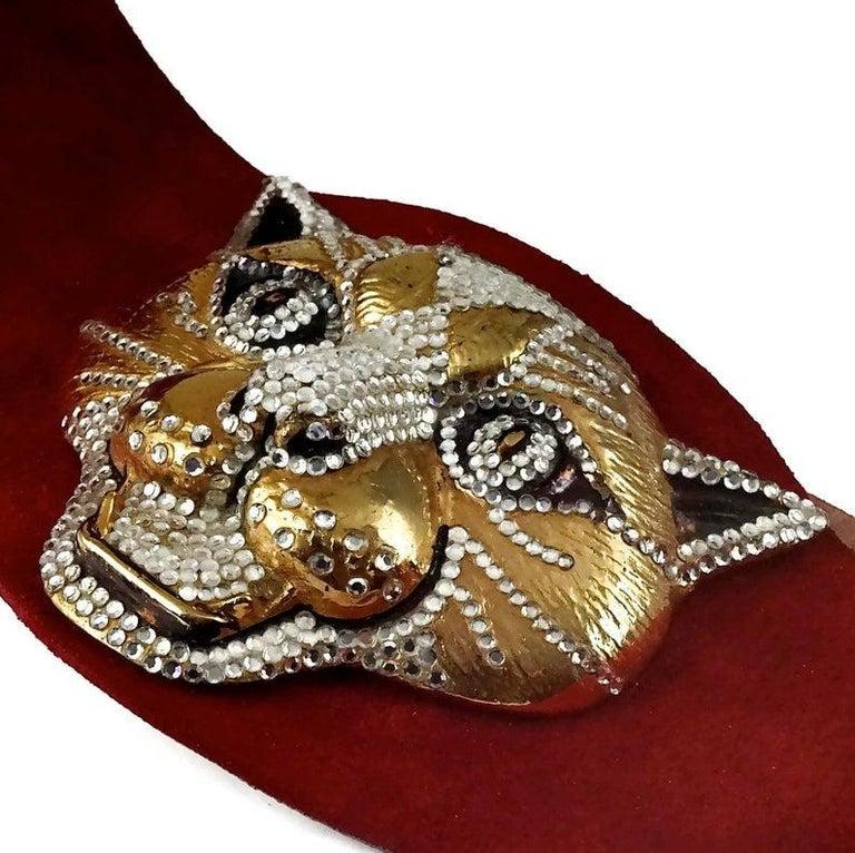 Vintage HENRYKS BIJOUX VIENNE Jewelled Leopard Head Red Suede Wide Belt For Sale 5