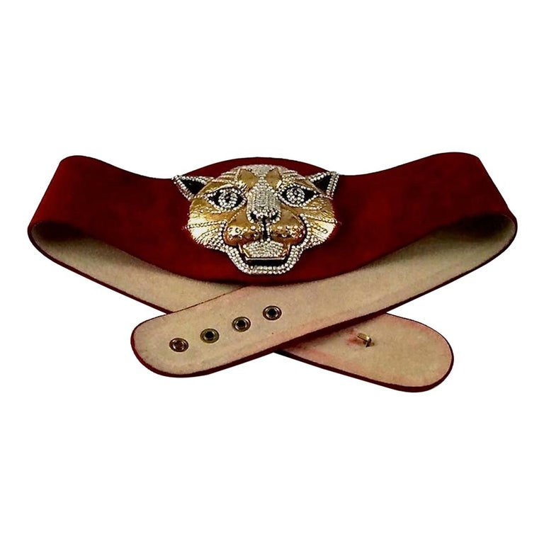 Vintage HENRYKS BIJOUX VIENNE Jewelled Leopard Head Red Suede Wide Belt For Sale
