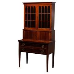 Vintage Hepplewhite Style Maddox Mahogany Tambour Secretary Desk, Circa 1930