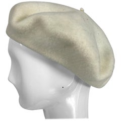 Vintage Herbert Johnson London Off White Wool Beret 1970s