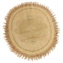 Vintage Hereke Beige Cream Oval Rug with Boteh Medallion Design