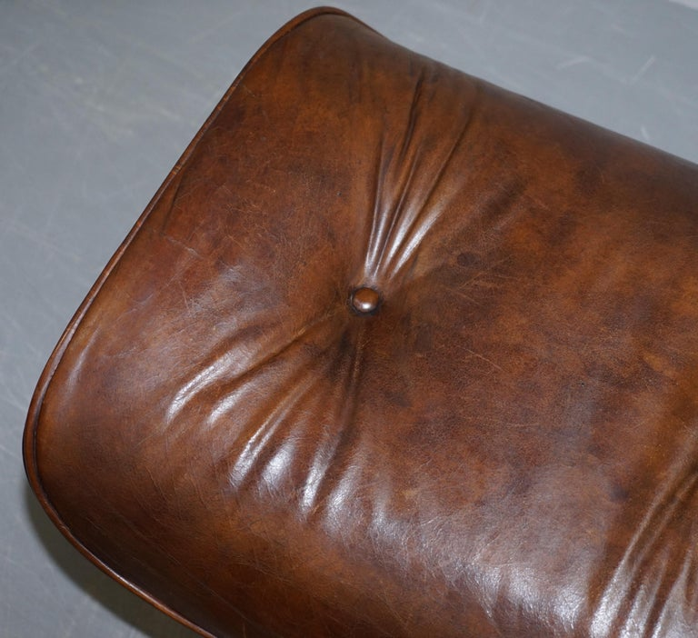 Vintage Heritage Aged Brown Leather Lounge Armchair & Ottoman Tufted Buttons For Sale 8