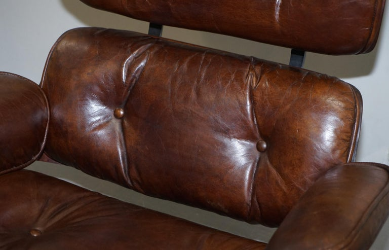Hand-Crafted Vintage Heritage Aged Brown Leather Lounge Armchair & Ottoman Tufted Buttons For Sale