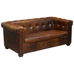 Vintage Heritage Brown Biker Tan Leather 2-3-Seat Sofa Chesterfield Tufting