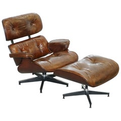 VINTAGE HERITAGE BROWN LEATHER LOUNGE ARMCHAIR & MATCHInG OTTOMAN FOOTSTOOL